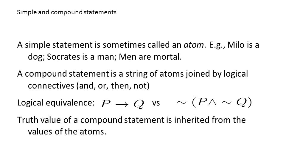 Simple and compound statements