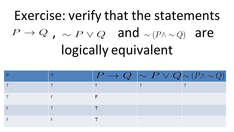 Exercise: verify that the statements , and are logically equivalent