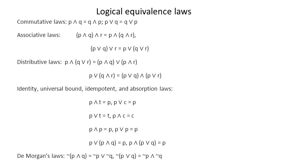 Logical equivalence laws
