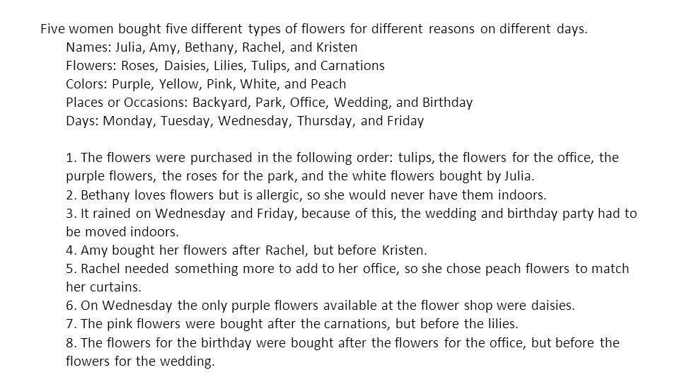 Five women bought five different types of flowers for different reasons on different days.