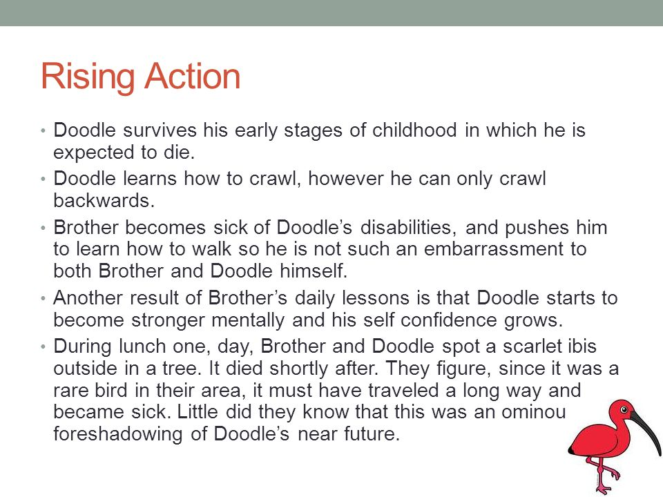Rising Action Doodle survives his early stages of childhood in which he is expected to die.