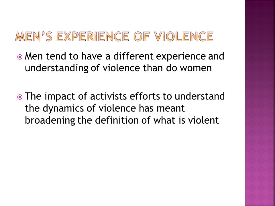 Men's Experience of Violence