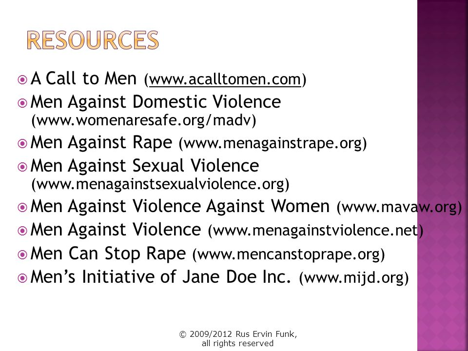 Resources A Call to Men (www.acalltomen.com)