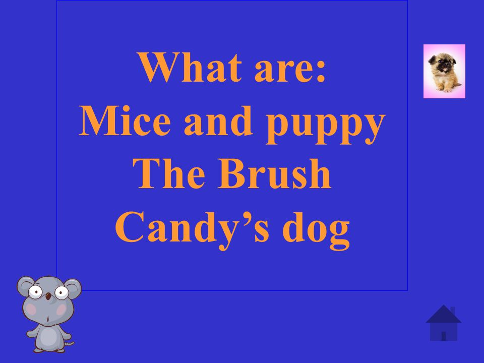 What are: Mice and puppy The Brush Candy's dog