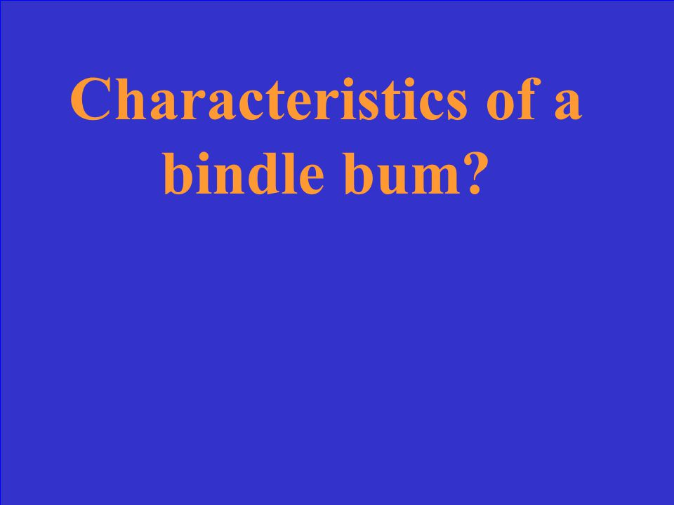 Characteristics of a bindle bum