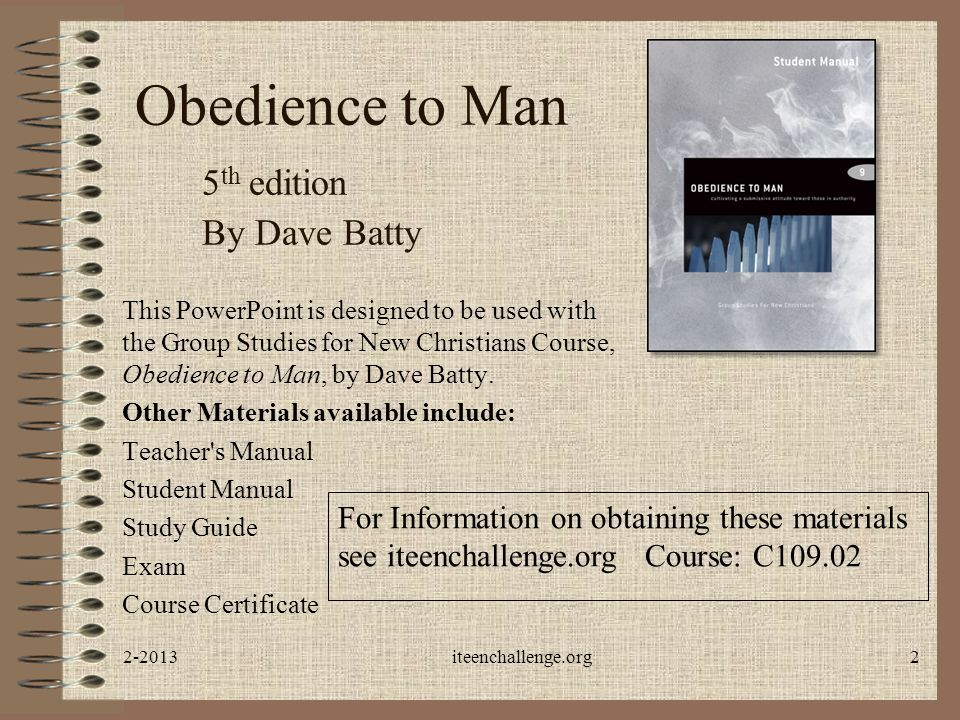 Obedience to Man 5th edition By Dave Batty