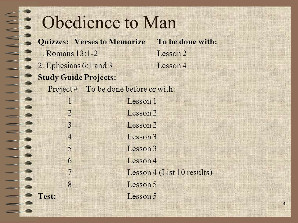 Obedience to Man Quizzes: Verses to Memorize To be done with: