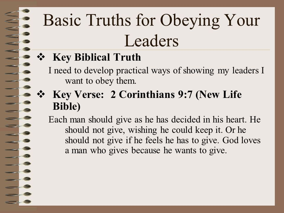 Basic Truths for Obeying Your Leaders