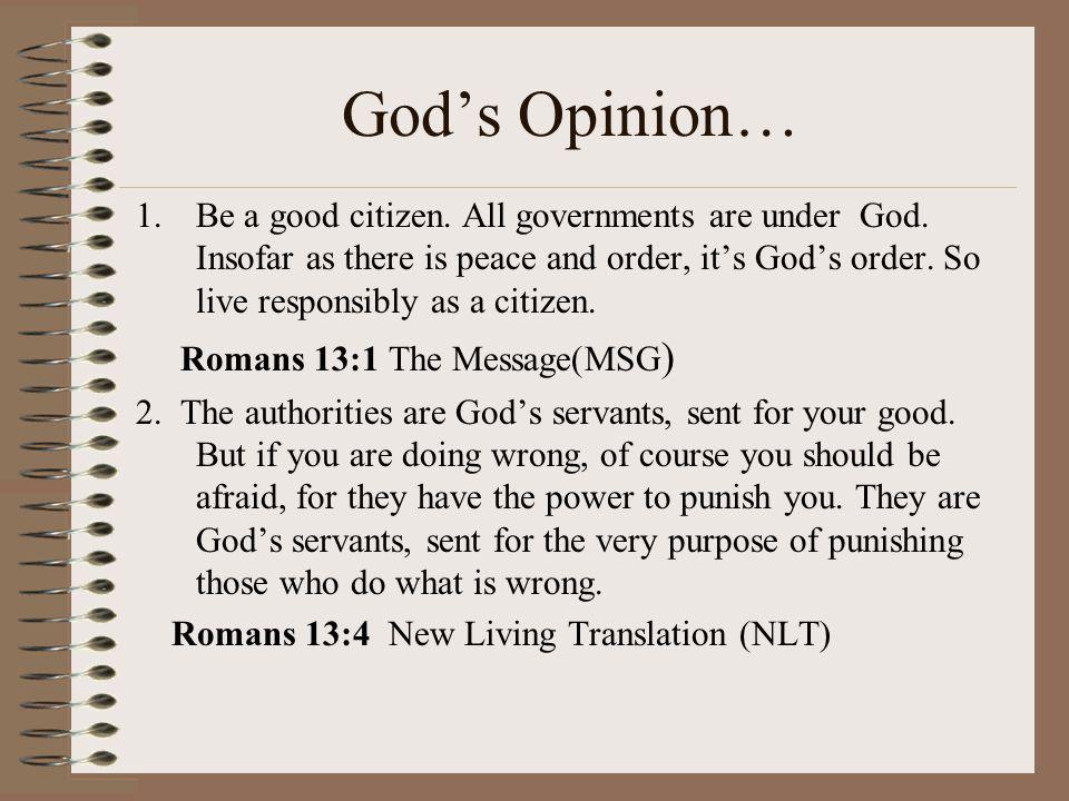 God's Opinion…