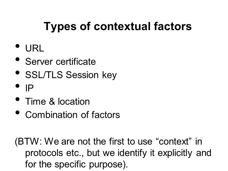 Types of contextual factors