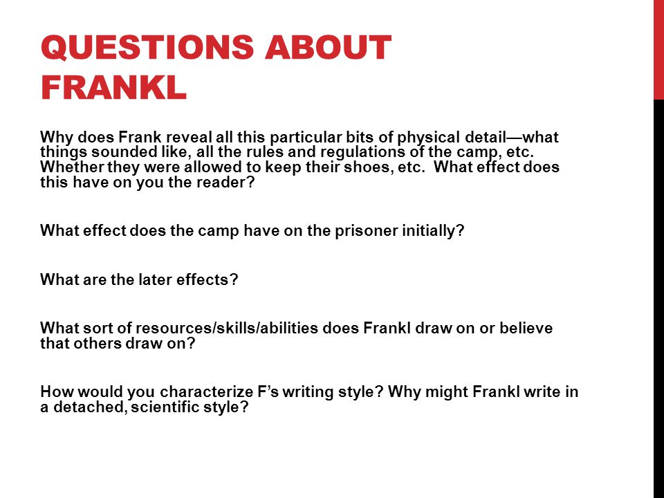 Questions About Frankl