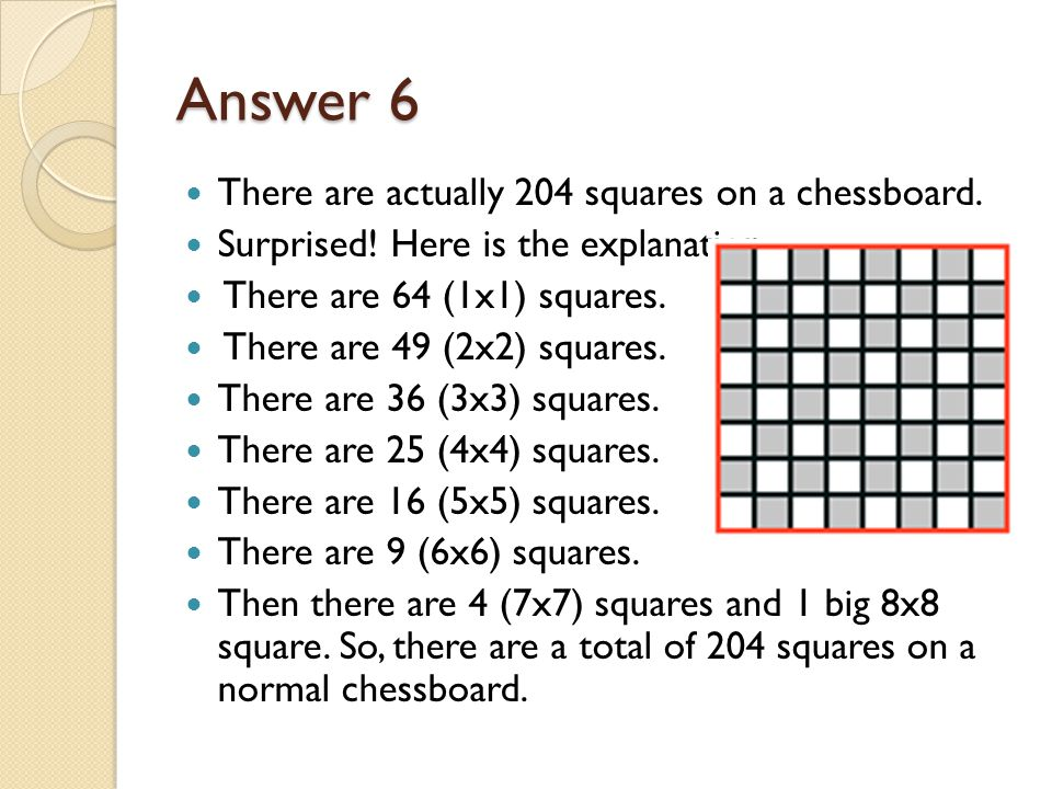 Answer 6 There are actually 204 squares on a chessboard.