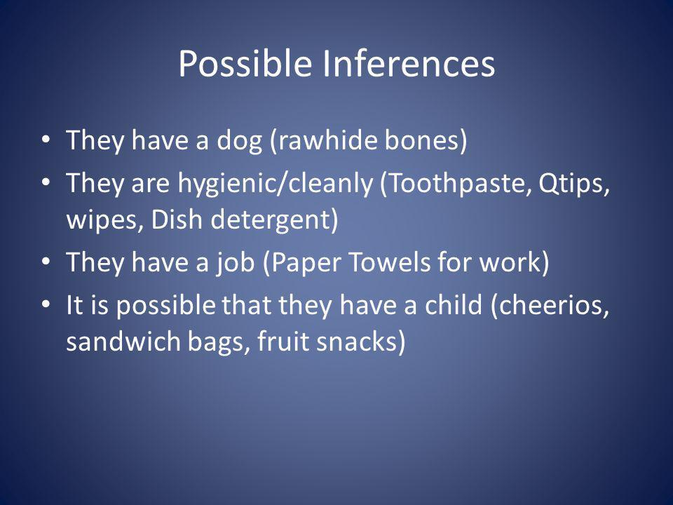 Possible Inferences They have a dog (rawhide bones)