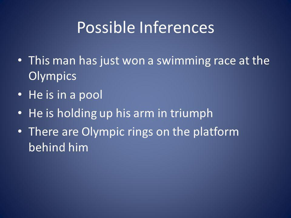 Possible Inferences This man has just won a swimming race at the Olympics. He is in a pool. He is holding up his arm in triumph.