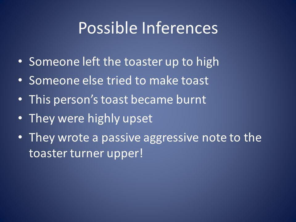 Possible Inferences Someone left the toaster up to high