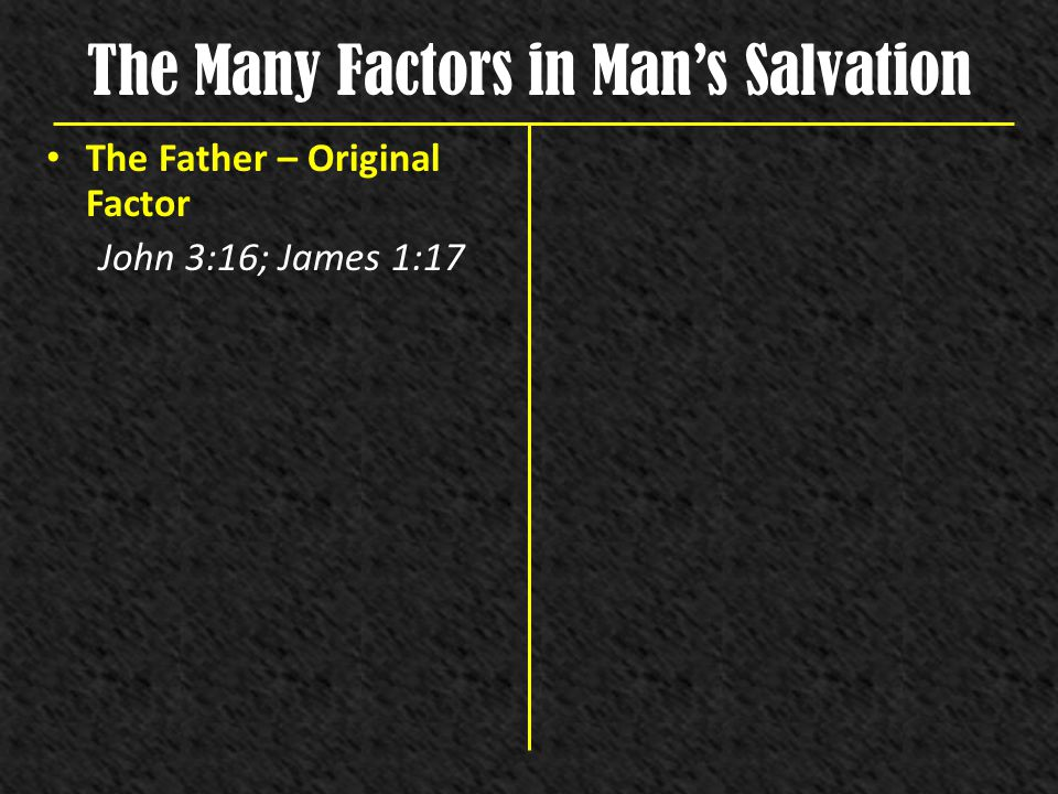The Many Factors in Man's Salvation