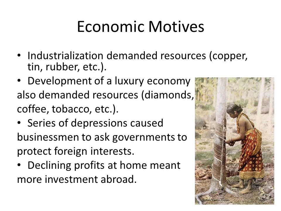 Economic Motives Industrialization demanded resources (copper, tin, rubber, etc.). Development of a luxury economy.
