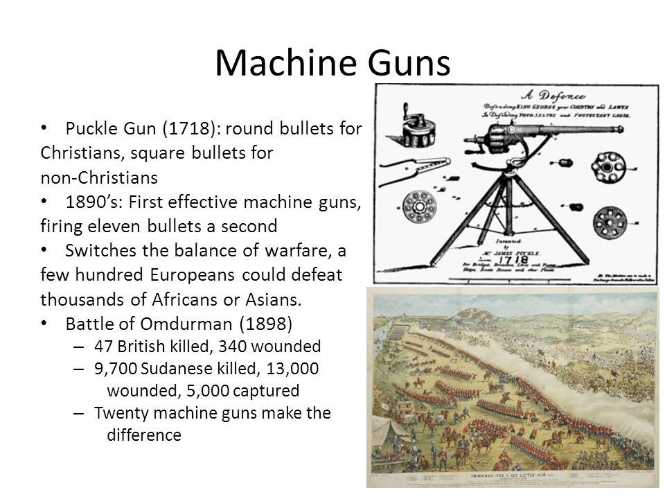 Machine Guns Puckle Gun (1718): round bullets for