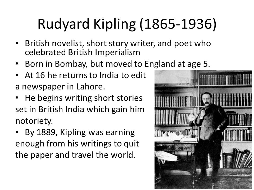 Rudyard Kipling (1865-1936) British novelist, short story writer, and poet who celebrated British Imperialism.