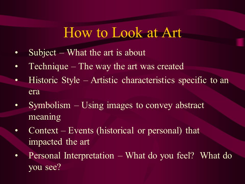 How to Look at Art Subject – What the art is about