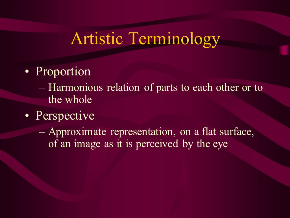 Artistic Terminology Proportion Perspective