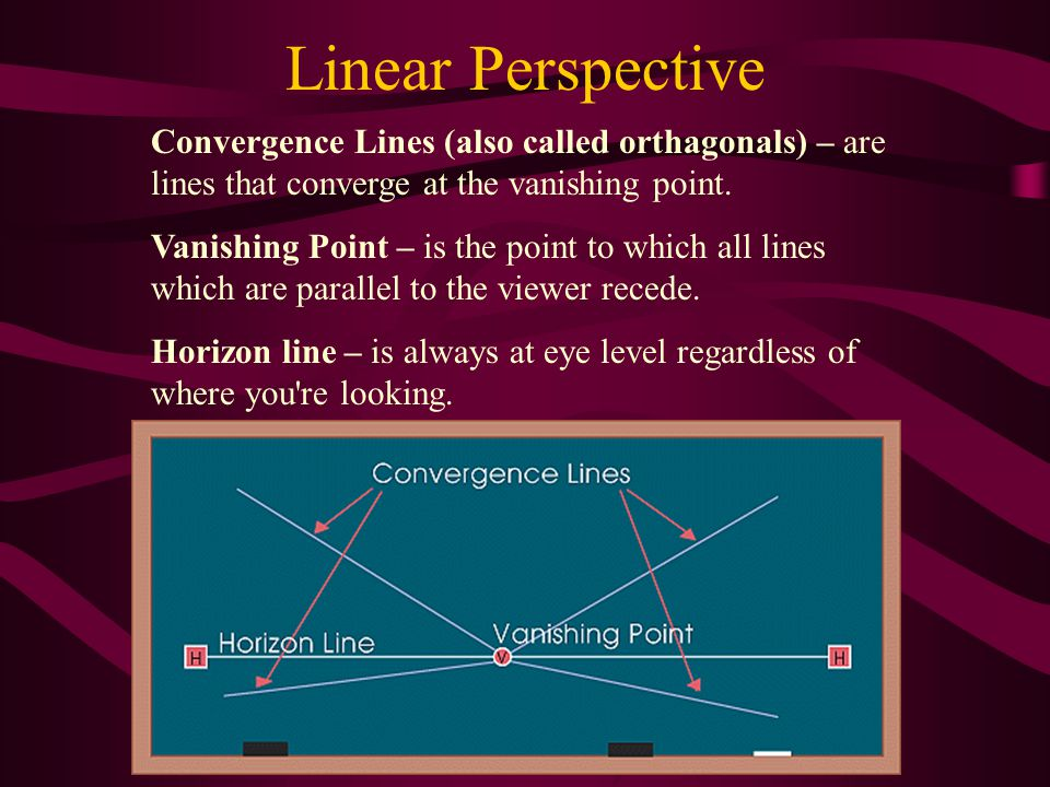 Linear Perspective Convergence Lines (also called orthagonals) – are lines that converge at the vanishing point.