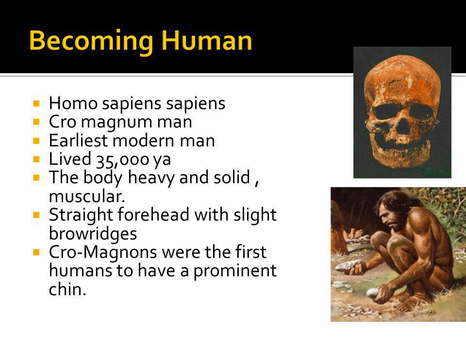 Becoming Human Homo sapiens sapiens Cro magnum man Earliest modern man
