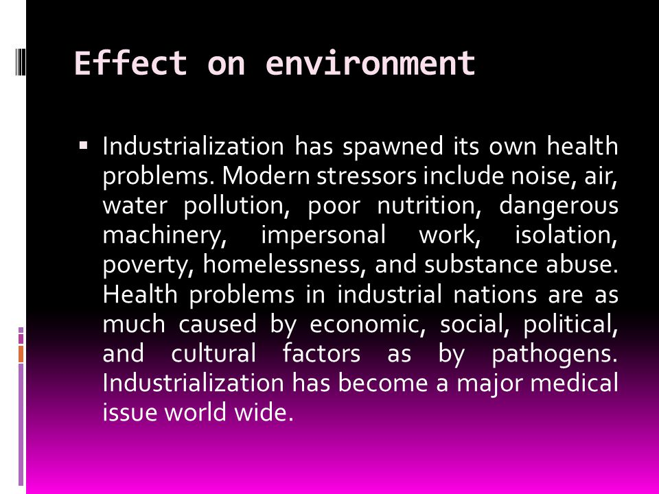 Effect on environment