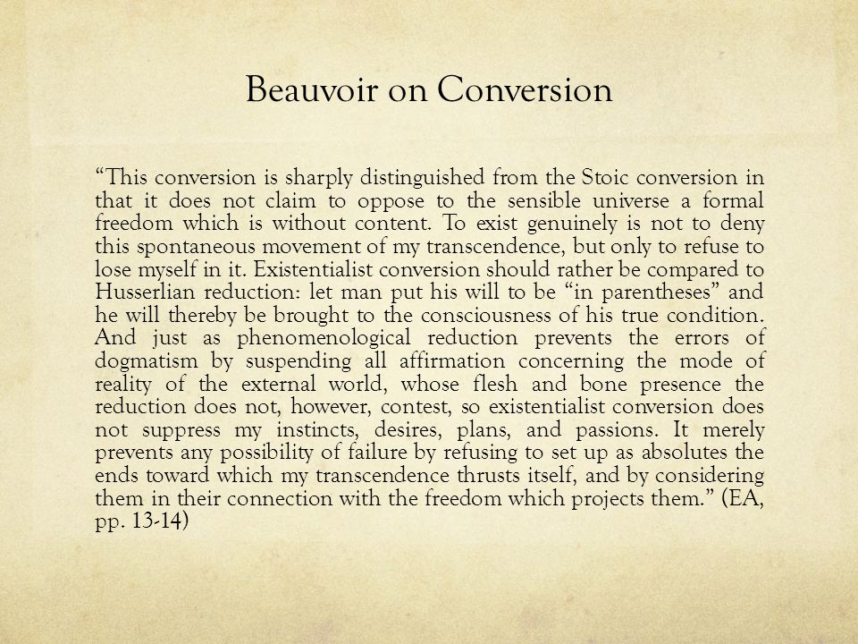 Beauvoir on Conversion