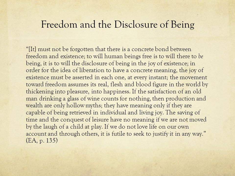 Freedom and the Disclosure of Being