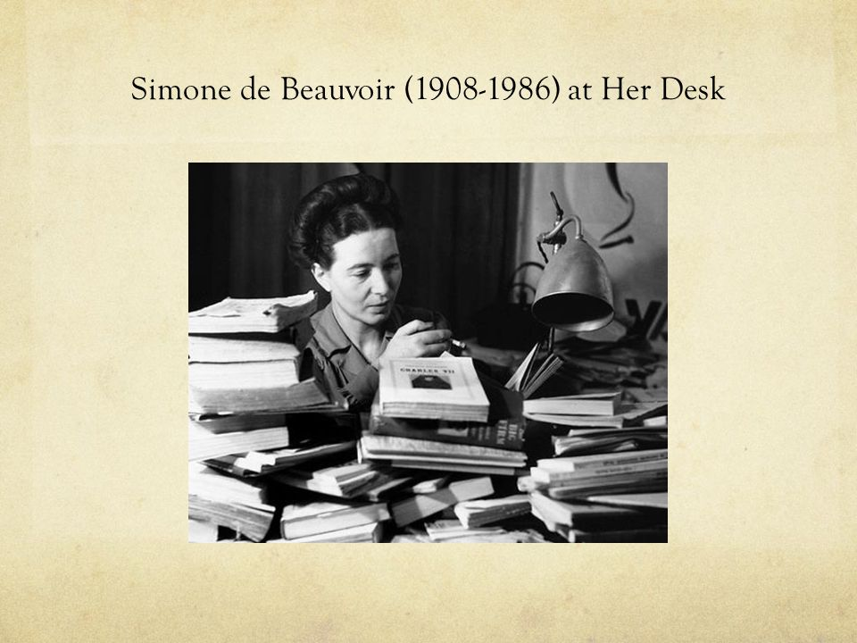 Simone de Beauvoir (1908-1986) at Her Desk