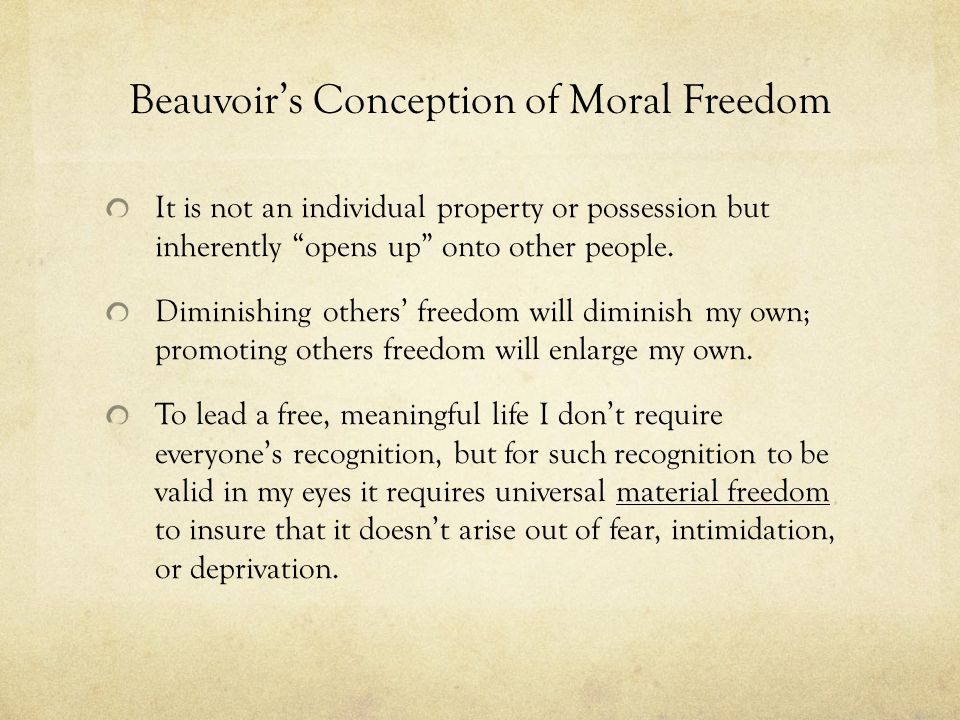 Beauvoir's Conception of Moral Freedom