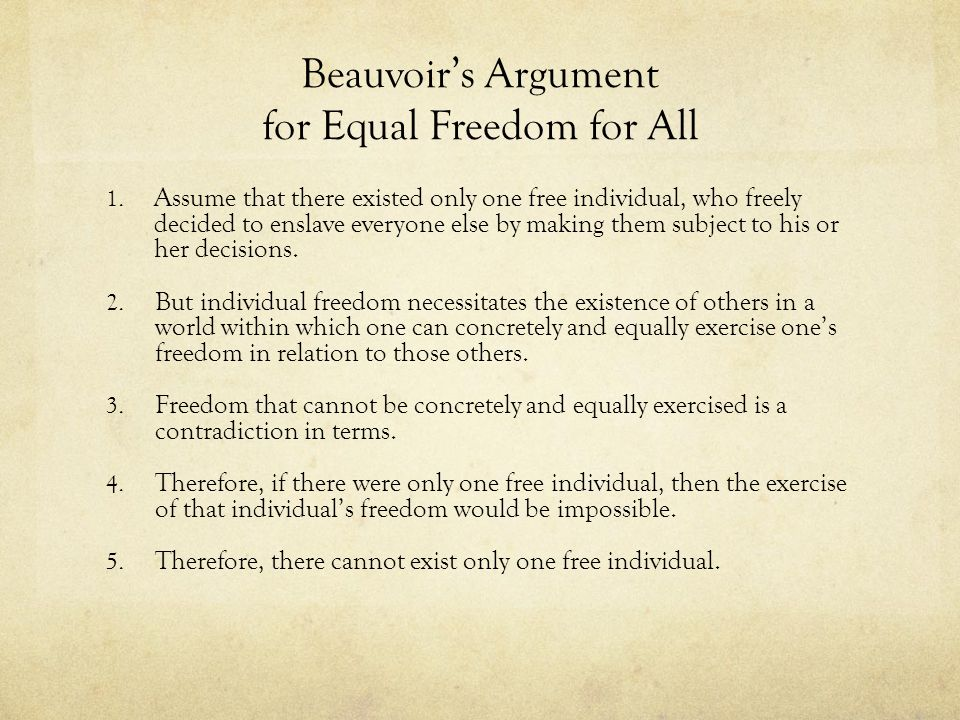 Beauvoir's Argument for Equal Freedom for All