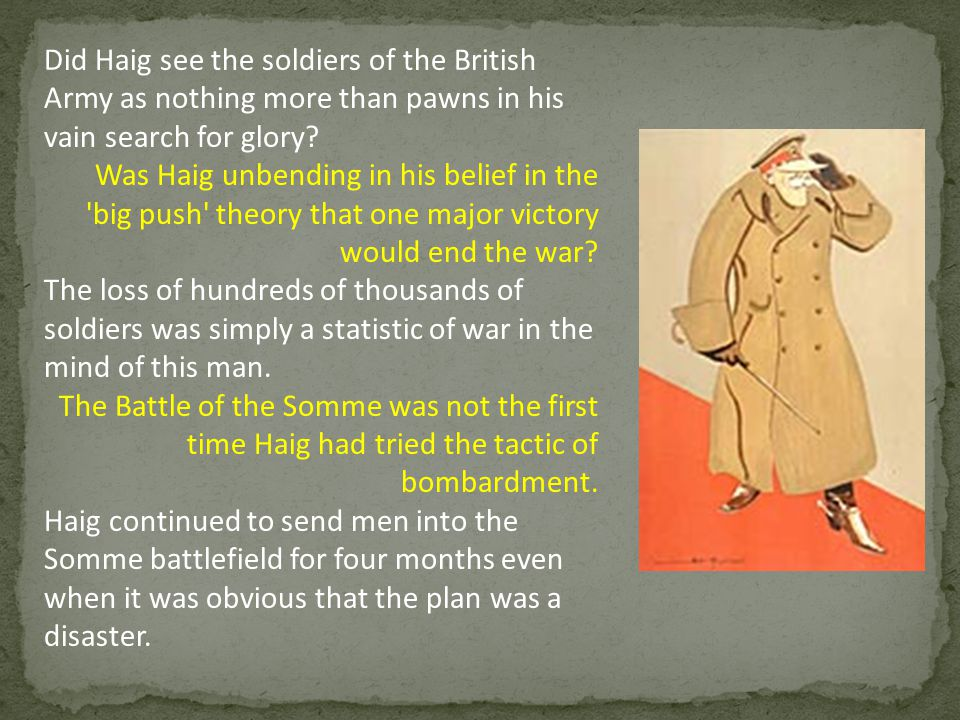Did Haig see the soldiers of the British Army as nothing more than pawns in his vain search for glory