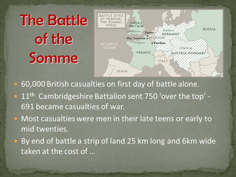 The Battle of the Somme 60,000 British casualties on first day of battle alone.