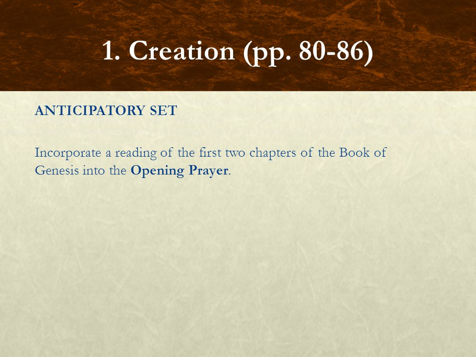 1. Creation (pp.