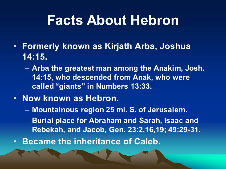 Facts About Hebron Formerly known as Kirjath Arba, Joshua 14:15.