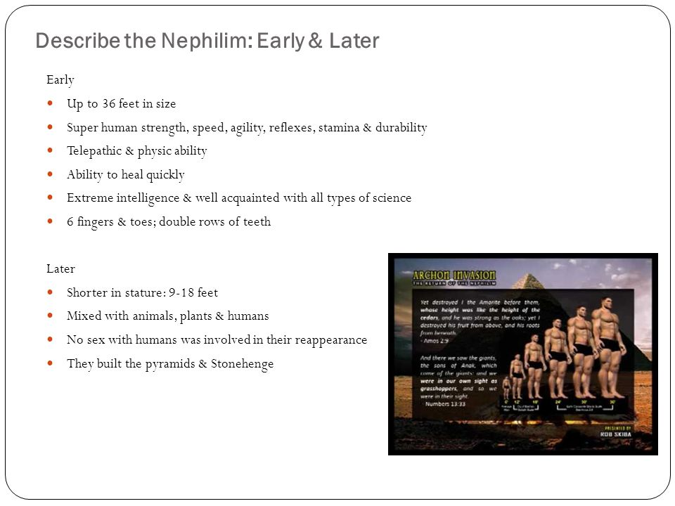 Describe the Nephilim: Early & Later