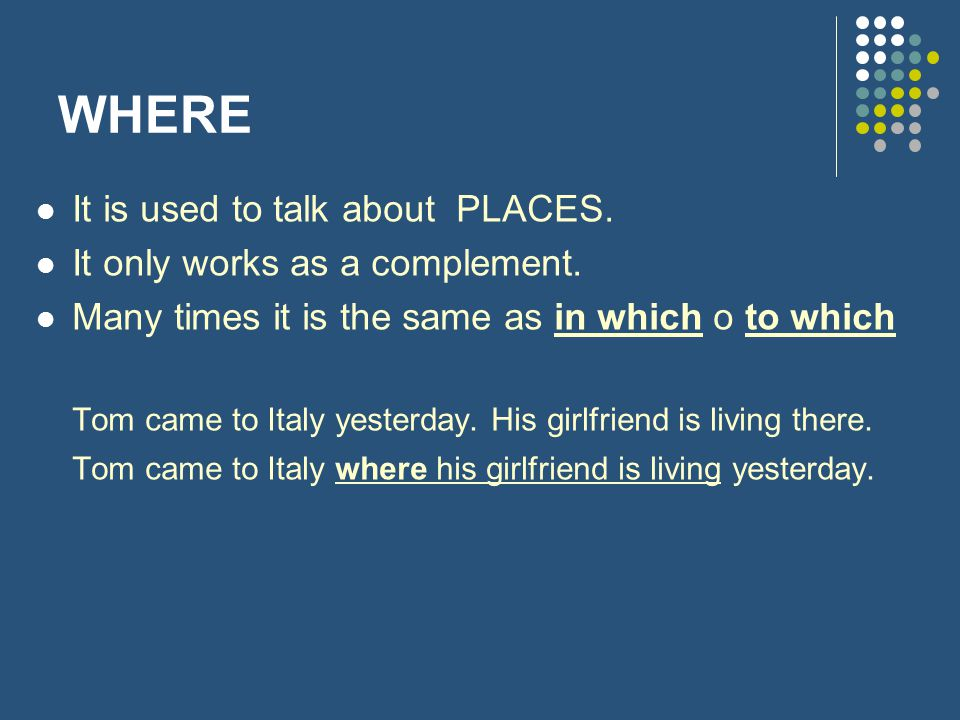 WHERE It is used to talk about PLACES. It only works as a complement.