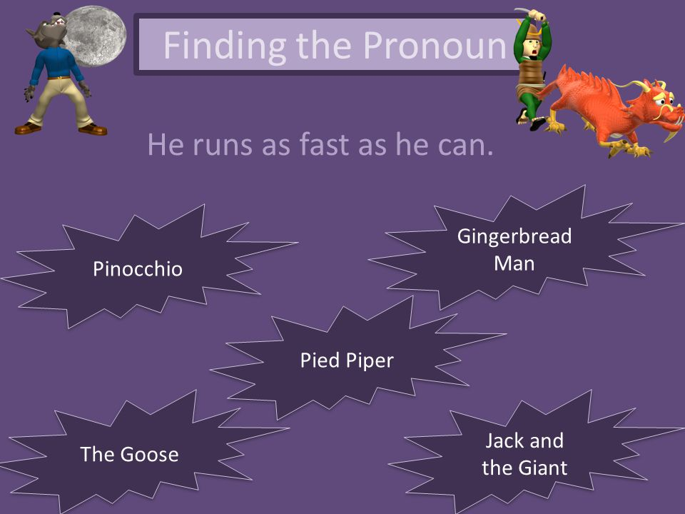 Finding the Pronoun He runs as fast as he can. Gingerbread Man