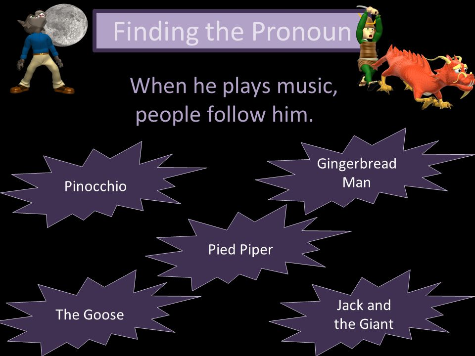 Finding the Pronoun When he plays music, people follow him.