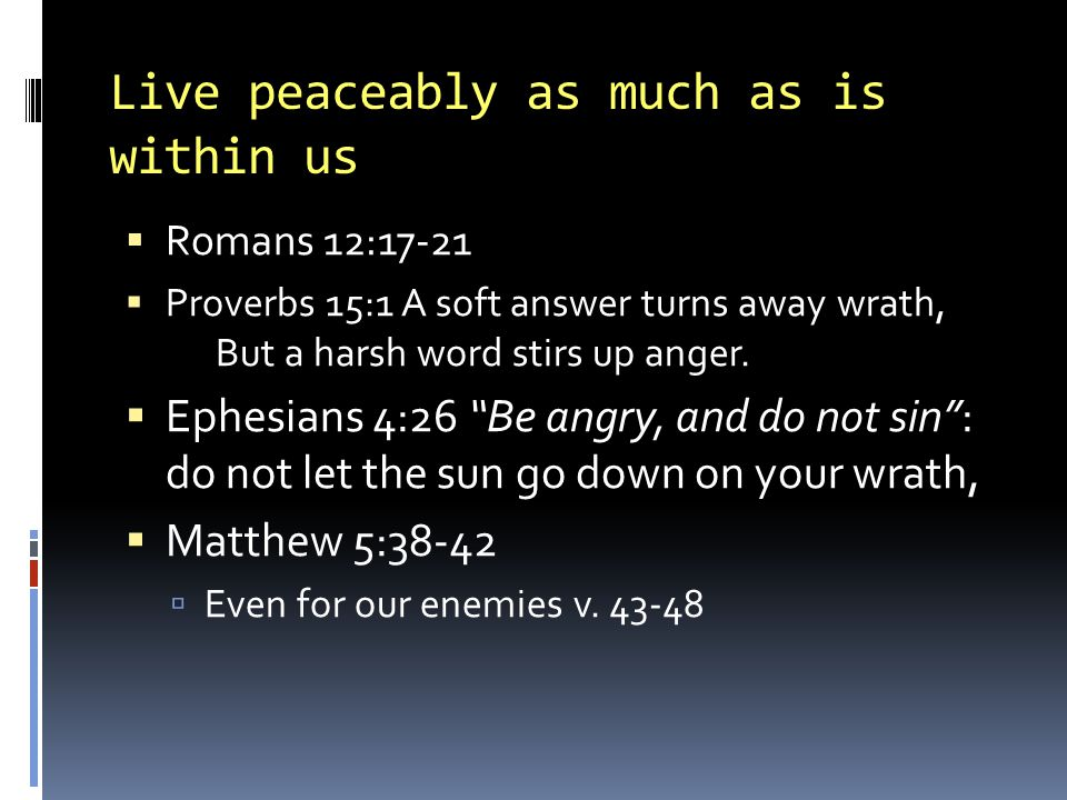Live peaceably as much as is within us