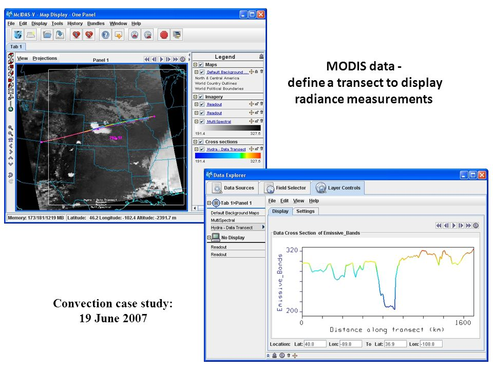 MODIS data - define a transect to display radiance measurements