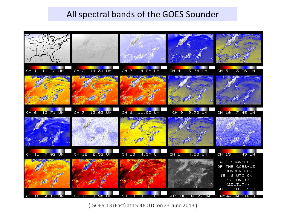 All spectral bands of the GOES Sounder