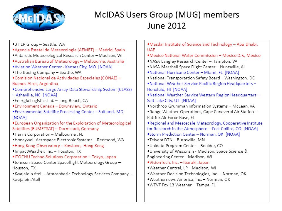 McIDAS Users Group (MUG) members June 2012