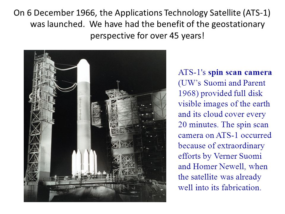 On 6 December 1966, the Applications Technology Satellite (ATS-1) was launched. We have had the benefit of the geostationary perspective for over 45 years!