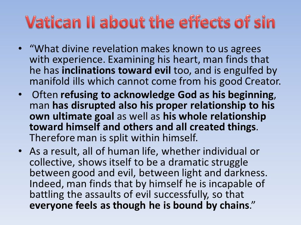 Vatican II about the effects of sin