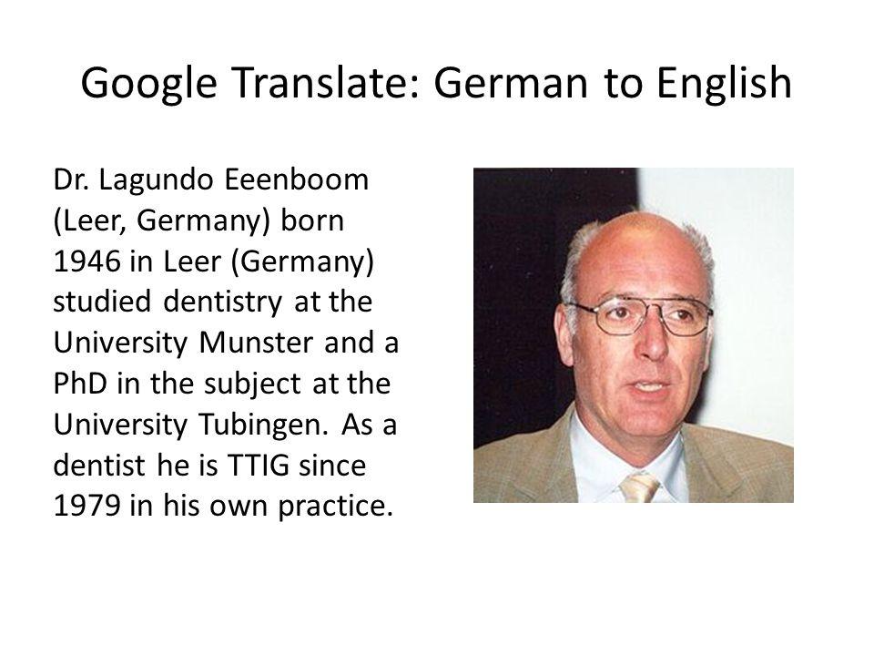 Google Translate: German to English