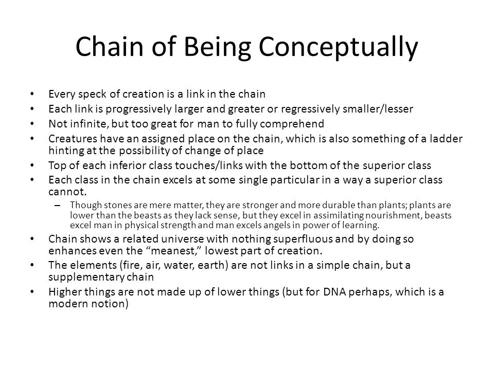 Chain of Being Conceptually