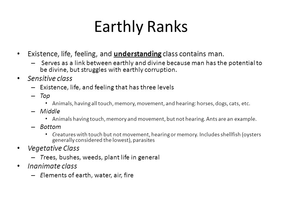 Earthly Ranks Existence, life, feeling, and understanding class contains man.